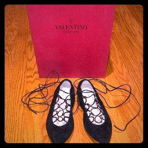 Valentino rockstud lace up flats